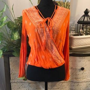 LULUS WRAP STYLE EMBROIDERED BLOUSE